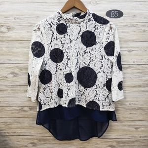 HD In Paris Anthro White & Navy Dotted Blouse